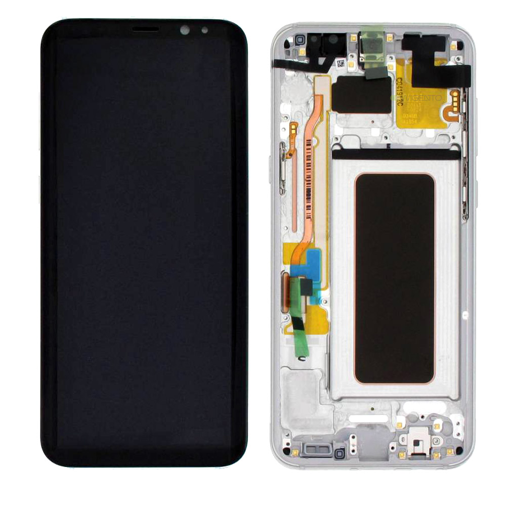 Γνήσια Original Samsung Galaxy S8 Plus G955F G955 Οθόνη LCD Display Screen + Touch Screen DIgitizer Μηχανισμός Αφής + Frame Πλαίσιο Silver GH97-20470B