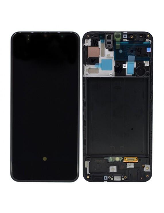 Γνήσια Original Samsung Galaxy A50 2019 (SM-A505F) Super AMOLED Οθόνη LCD Display Screen + Touch Screen DIgitizer Μηχανισμός Αφής + Frame Πλαίσιο GH82-19204A, GH82-19713A Black (Service Pack By Samsung)