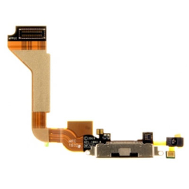 Original Iphone 4 Dock Charge Connector flex and Headphone Jack Black Καλωδιοταινία φόρτισης