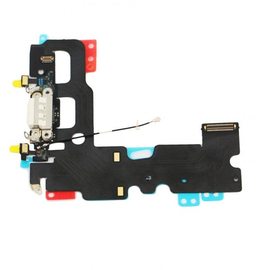 HQ OEM Iphone 7  Charging Dock Connector flex Cable Καλωδιοταινία φόρτισης + Microphone Μικρόφωνο White