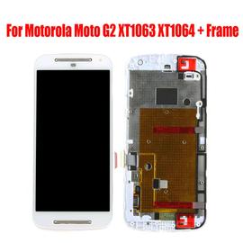 Γνήσιο Original Motorola MOTO G2 G+1 XT1063 XT1068 Lcd Display Screen Οθόνη + Touch Screen Digitizer Μηχανισμός Αφής + Frame Πλασιο White