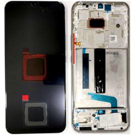 Γνήσια Original Xiaomi Mi 10 Lite, Mi10 Lite, Super Amoled Lcd Display Assembly Screen Οθόνη + Touch Screen Digitizer Μηχανισμός Αφής + Frame Πλαίσιο Σασί White (Service Pack By Xiaomi)