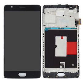 OEM HQ OnePlus 3, 3T Amoled Lcd Screen Display Οθόνη + Touch Screen Digitizer Μηχανισμός Αφής + Πλαίσιο Frame Μαύρο Black (Grade AAA+++)
