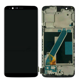 OEM HQ OnePlus 5T A5010 AMOLED Lcd Screen Display Οθόνη + Touch Screen Digitizer Μηχανισμός Αφής + Frame Front Cover Πλαίσιο Μαύρο Black